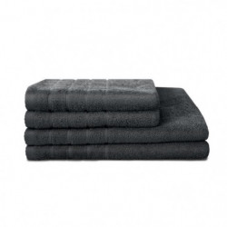LOVELY HOME Lot de 4 pieces Eponge 100% Coton Anthracite - 2