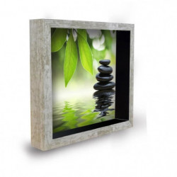 Tableau déco cadre vitrine 20x20 - Galets zen vert