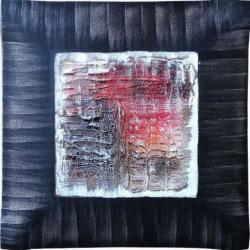 ABSTRAIT Tableau déco bombé toile peinte a la main 70x70 cm