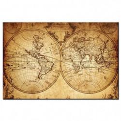 WORLD Tableau imprimé - Carte du monde - 80x50cm - Vintage