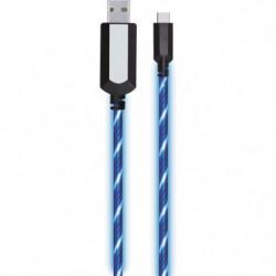 APM - Câble USB/USB-C lumineux - LED Bleu 1 metre