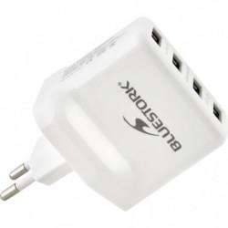 BLUESTORK Chargeur Secteur 4 USB - 3.5A - Blanc