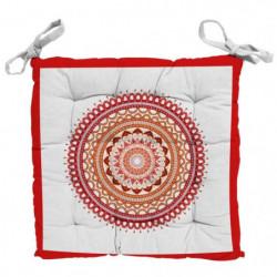 SOLEIL D'OCRE Galette de chaise capitonnée Mandala en coton