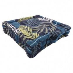 Coussin de sol 100% coton imprimé JUNGLE 40x40cm - Bleu