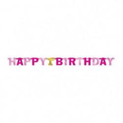 AMSCAN Guirlande lettres 1st Birthday Rose 213 cm