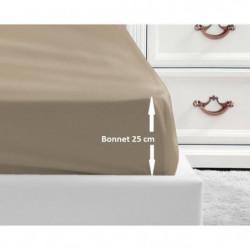 LOVELY HOME Drap Housse 100% coton 90x190x25 cm beige