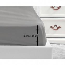 LOVELY HOME Drap Housse 100% coton 140x190x25 cm gris clair