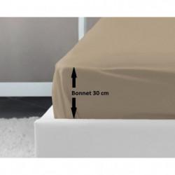 LOVELY HOME Drap Housse 100% coton 140x190x30 cm beige