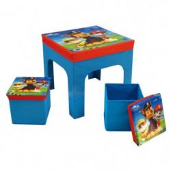 Fun House Pat Patrouille ensemble table+2 tabourets de range