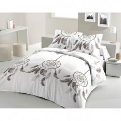 LOVELY HOME Parure de couette Coton ATTRAPE REVES Blanc 220x240
