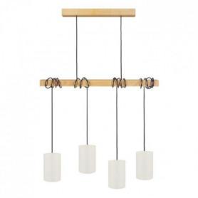 HARLEM Lustre 4 tetes en bois et coton - L80 x H18