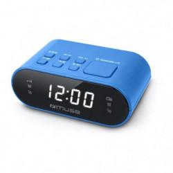 MUSE M-10 BL Radio réveil - horloge 24h - 20 stations - Bleu