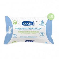 DODIE Lot de 6 paquets de lingettes biodégradables - Eau