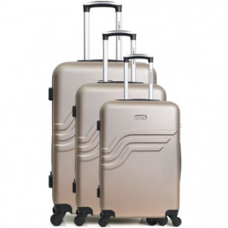 AMERICAN TRAVEL Set de 3 Valises queen Beige