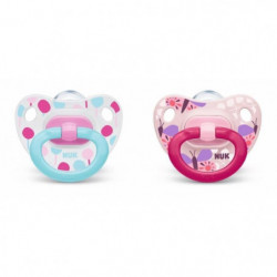 NUK 2 Sucettes Taille 1 Classic - Fille