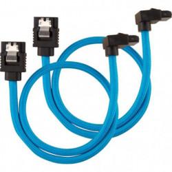 CORSAIR Câble gainé Premium SATA 6Gbps Bleu 30cm 90°