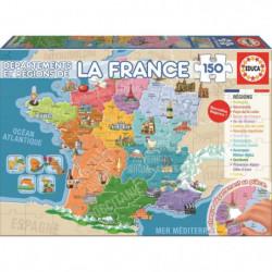 EDUCA Puzzle 150 Pieces - Départements et Régions de France