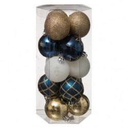 Lot de 15 boules de Noël 694504H - ø 50 mm - Blanc, bleu et doré