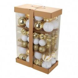Kit de 74 boules de Noël rondes - Ø 5,5 -16,5 cm - Or et blanc