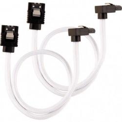 CORSAIR Câble gainé Premium SATA 6Gbps Blanc 30cm 90°