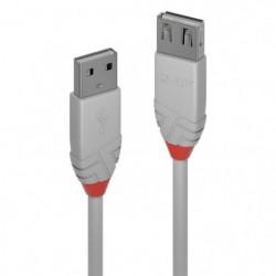 LINDY Rallonge USB 2.0 type à - Anthra Line - 3m - Gris