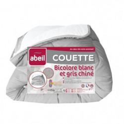 ABEIL Couette tempérée BICOLORE 220x240cm - Blanc & Gris chiné