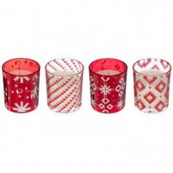 Lot de 4 Bougies Parfumées en Verre Design Noël - Rouge