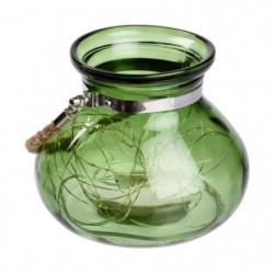 Vase en verre Vert jade - 40 MicroLED lumiere fixe