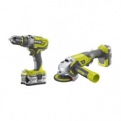 RYOBI Pack 18 V : Perceuse a percussion + meuleuse 115mm