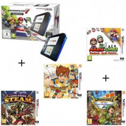 4 jeux + console 2DS Bleue & Mario Kart 7 Préinstallé + Mario