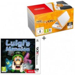 Console New Nintendo 2DS XL Blanche et Orange + Luigi's Mansion