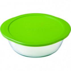 PYREX -  912S955/W146 Lot de 3 plats ronds avec couvercle vert