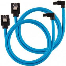 CORSAIR Câble gainé Premium SATA 6Gbps Bleu 60cm 90°
