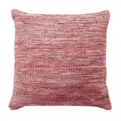 Coussin en cuir tressé Skin - 70 x 70 cm - Rose poudre