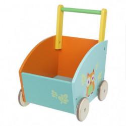 HANGZHOU TOYS - Chariot de marche caisse motifs hibou - en bois