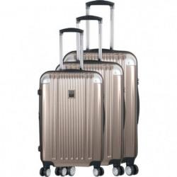 FRANCE BAG - Set de 3 valises ABS/POLYCARBONATE 8 roues Champagne