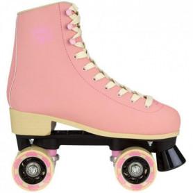 NIJDAM Rollers quad en cuir retro - Femme - Rose clair