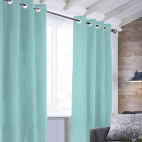 Rideau sueden 100% Polyester - Bleu clair - 140x250 cm
