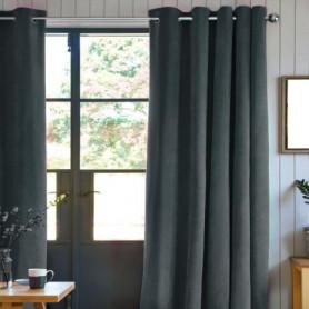 Rideau velours 100% Polyester - Gris carbone - 140x250 cm