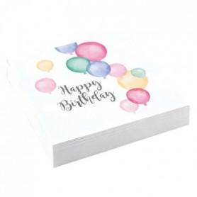 AMSCAN Lot de 20 Serviettes Happy Birthday Pastel 33 x 33 cm
