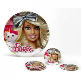 ATOSA Pack de 5 assiettes en carton - Collection Barbie - Fille