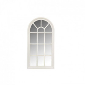Miroir fenetre arrondie - 71x36 cm - Blanc