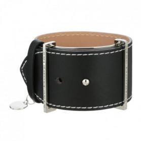 MAC DOUGLAS Bracelet Acier Cuir Noir Manchette