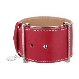 MAC DOUGLAS Bracelet Acier Cuir Rouge Manchette