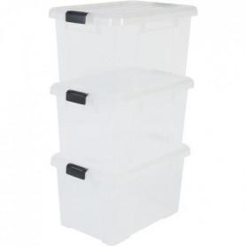 IRIS OHYAMA Lot de 3 boîtes de rangement avec fermeture clic 126029