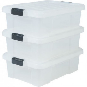IRIS OHYAMA Lot de 3 boîtes de rangement avec fermeture clic 126032