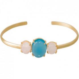 Bracelet Gladys Onyx bleu et Quartz rose