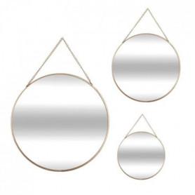 ACDECO Lot de 3 Miroirs rond métal chaine - Doré - Ø 26 cm