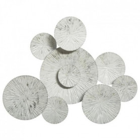 Décoration murale ronde en métal - 75 x 61 cm - Blanc