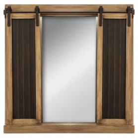 Miroir volet ardoise - 76 x 76 cm - Marron
